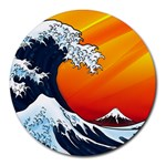 Japanese Wave Mousepad - Round Mousepad