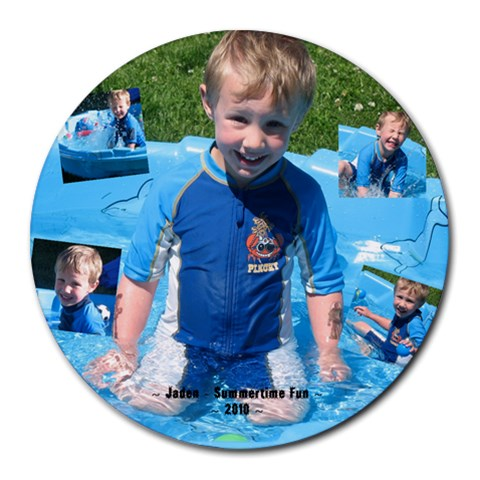 Jadens Mousepad By Kelly Carvell   Collage Round Mousepad   Lo01l6whs4q6   Www Artscow Com 8 x8 Round Mousepad - 1