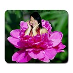 White Flower turns....color - Large Mousepad