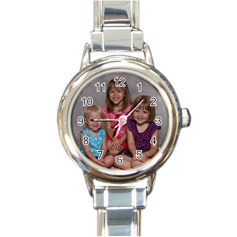 Italian Charm Watch With The Girls Bday Pic On It!!!  By Cricket Richardson   Round Italian Charm Watch   Zmzdzpieyvi2   Www Artscow Com Front