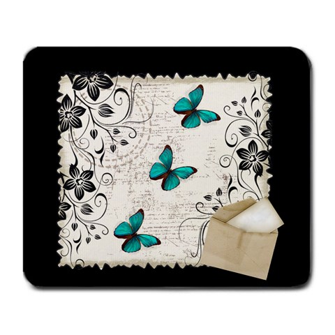 Butterflies In The Office By Shannon Mcmillan   Large Mousepad   Q9jqmby9quvm   Www Artscow Com Front