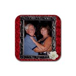 mom dad coaster - Rubber Coaster (Square)