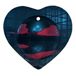 3d Ball on Glass room Heart Ornament (Two Sides)