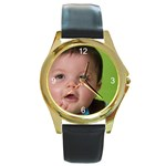 Round Gold Metal Watch