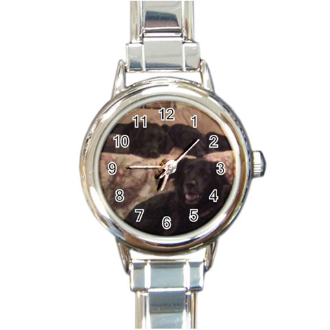 Doggies Telling Time By Jessica   Round Italian Charm Watch   Jh0cbxmyp0e1   Www Artscow Com Front