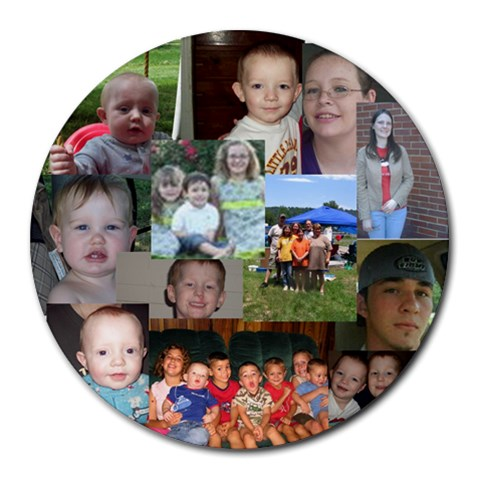 My Family Mousepad by Sharon Bowen 8 x8 Round Mousepad - 1
