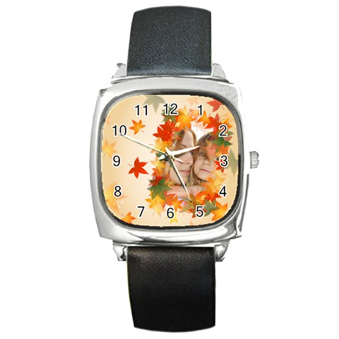 Fall Watch By Wood Johnson   Square Metal Watch   N0u2qons3ui7   Www Artscow Com Front