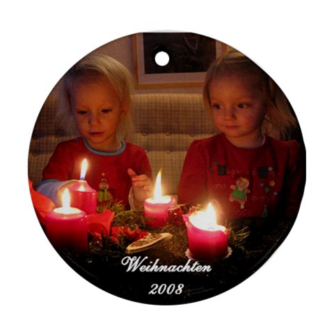 Christmas Ornament Of My Nieces By Johannes   Ornament (round)   5tghjq45y6hq   Www Artscow Com Front