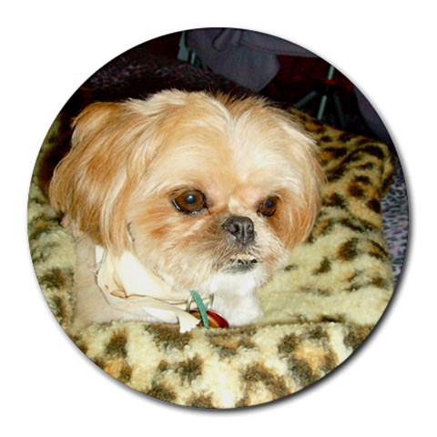 Buster Mousepad By Rhonda Bourland   Round Mousepad   434eln9mit85   Www Artscow Com Front