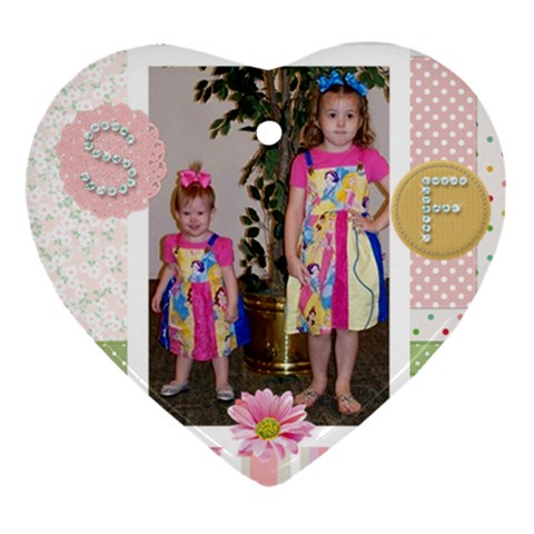 Savannah & Faith Ornament By Keri Orr   Ornament (heart)   1tit9tmel7mv   Www Artscow Com Front