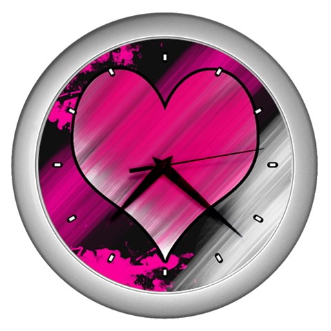 Heart Clock By Ijoshsubscribed By Josh Stephenson   Wall Clock (silver)   W7efgn1lt4gn   Www Artscow Com Front