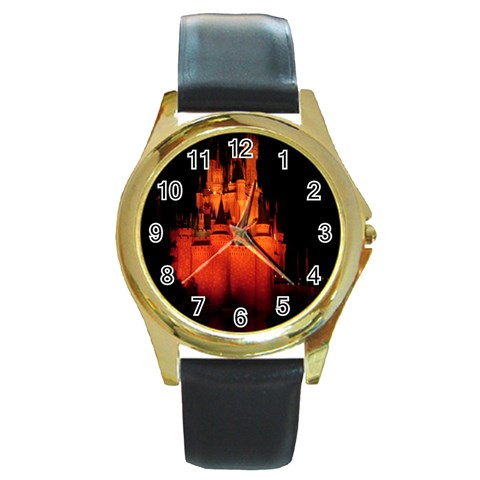 Orange Castle By Terri   Round Gold Metal Watch   Hgpi1i8aqksz   Www Artscow Com Front