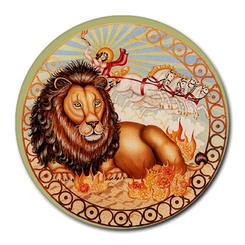 Leo Zodiac Mousepad By Enkay   Round Mousepad   913t47ov4nh7   Www Artscow Com Front