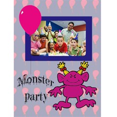 "Monster Party Invitaion Girl    4 5"" X 6"" Greeting Cards By Carmensita   Greeting Card 4 5  X 6    Egkdr7aktezy   Www Artscow Com Front Cover"