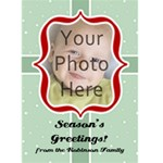 Red and Green Vintage Photo Christmas Card - Greeting Card 5  x 7