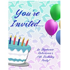 Personalized Birthday Party Invitations By Angela   Greeting Card 4 5  X 6    Xggzfwle2zff   Www Artscow Com Front Cover
