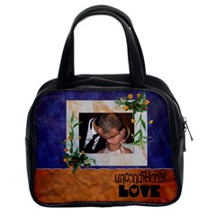 Unconditional Love Blue And Orange   Bag By Carmensita   Classic Handbag (two Sides)   N8otdbgfx7ly   Www Artscow Com Front