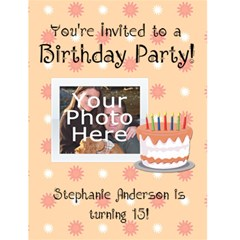 Peach Birthday Party Invitations By Angela   Greeting Card 4 5  X 6    T3nfakal9d7y   Www Artscow Com Front Cover