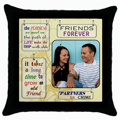 Friends Pillow By Lil    Throw Pillow Case (black)   42epn4uop0c2   Www Artscow Com Front