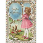Vintage Art Easter Card W/Girl In Pink - Greeting Card 5  x 7
