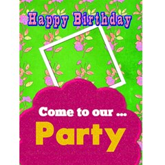 Birthday Invite Or Luau Invite By Danielle Christiansen   Greeting Card 4 5  X 6    0fvky6sclcox   Www Artscow Com Front Cover