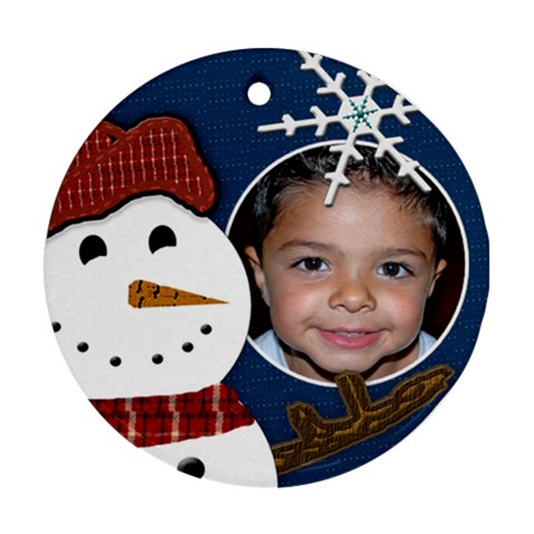 Snowman Christmas Ornament By Danielle Christiansen   Ornament (round)   Z5sh1vxai1th   Www Artscow Com Front