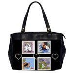 Black & white hearts bag - Oversize Office Handbag (Two Sides)