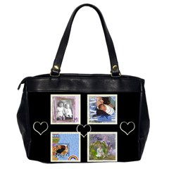 Black & White Hearts Bag By Catvinnat   Oversize Office Handbag (2 Sides)   Zdkcspfi0zb5   Www Artscow Com Back