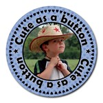 Cute as a Button Boy Mousepad - Round Mousepad