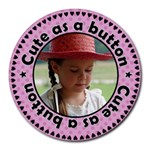 Cute as a Button Girl Mousepad - Round Mousepad