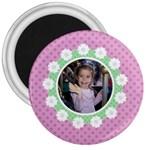 Pink & Green Flower Magnet - 3  Magnet