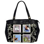 Swirly Black & white hearts bag - Oversize Office Handbag (Two Sides)
