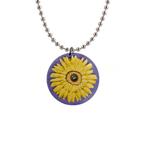 Daisy & Gingham Necklace By Mikki   1  Button Necklace   Xicpxtakm8ps   Www Artscow Com Front