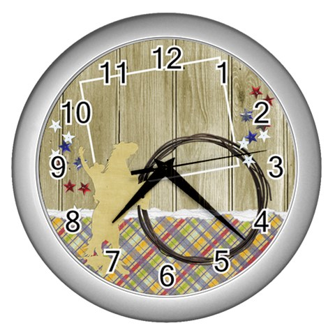 Cowboy Clock By Mikki   Wall Clock (silver)   9qspymk0kdoz   Www Artscow Com Front