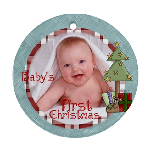 Baby s First Christmas Ornament 1 By Catvinnat   Ornament (round)   X0hl7o1hlfrs   Www Artscow Com Front