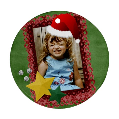 Santa Hat Ornament By Mikki   Ornament (round)   Kusg2i8etpm9   Www Artscow Com Front