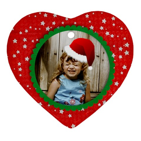 Santa Hat Heart Ornament By Mikki   Ornament (heart)   Amo9fuoew0xy   Www Artscow Com Front