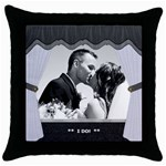 Wedding Pillow - Throw Pillow Case (Black)