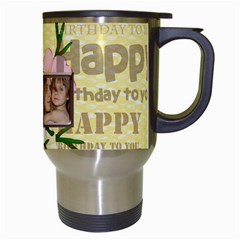 Happy Birthday Mug By Wood Johnson   Travel Mug (white)   Bfvvba7dxjoq   Www Artscow Com Right