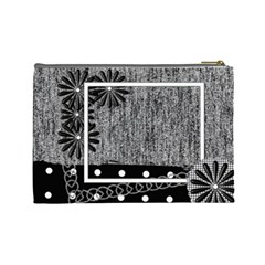 Cosmetics Bag Large Black & White By Angel   Cosmetic Bag (large)   Hbro27bp9550   Www Artscow Com Back