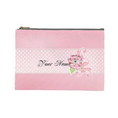 Pink Flower Case  Large  Template By Jennyl   Cosmetic Bag (large)   A1052wdb65ww   Www Artscow Com Front