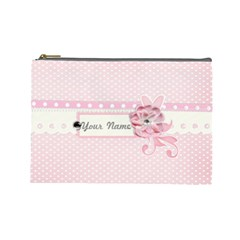 Pink Flower 2 Case  Large  Template By Jennyl   Cosmetic Bag (large)   Ugrczaokq7kl   Www Artscow Com Front
