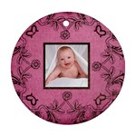 Pink Art Nuveau Ornament - Round Ornament (Two Sides)