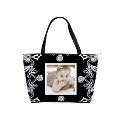 Art Nouveau Black & White Classic Shoulder Bag By Catvinnat   Classic Shoulder Handbag   Gkc6rica9uc7   Www Artscow Com Front