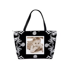 Art Nouveau Black & White Classic Shoulder Bag By Catvinnat   Classic Shoulder Handbag   Gkc6rica9uc7   Www Artscow Com Back