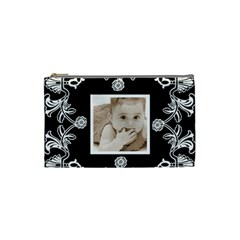 Art Nouveau Black & White Small Cosmetic Bag By Catvinnat   Cosmetic Bag (small)   N34klfs48o3s   Www Artscow Com Front