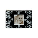 Art Nouveau Black & White Medium Cosmetic Bag - Cosmetic Bag (Medium)