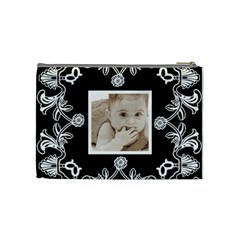 Art Nouveau Black & White Medium Cosmetic Bag By Catvinnat   Cosmetic Bag (medium)   3g6b2uuxwgjp   Www Artscow Com Back