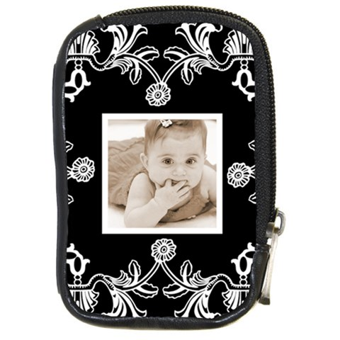 Art Nouveau Black & White Camera Case By Catvinnat   Compact Camera Leather Case   8z01slfdald6   Www Artscow Com Front