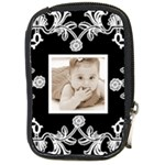 Art Nouveau Black & White Camera Case - Compact Camera Leather Case